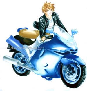 Biker in leather jacket