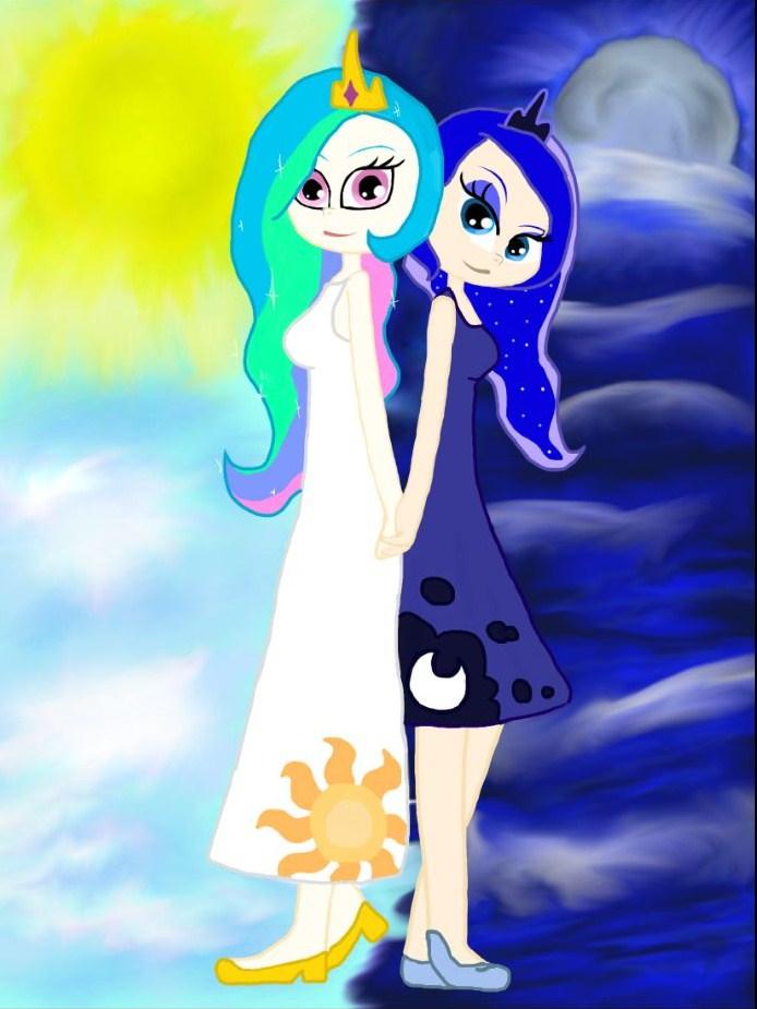 Celestia and Luna (human) by Kaleysia on DeviantArt