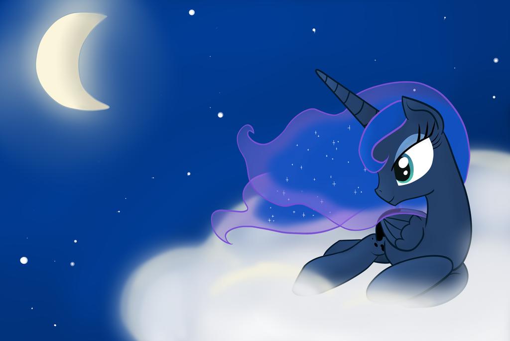 Princess Luna night sky by Kaleysia