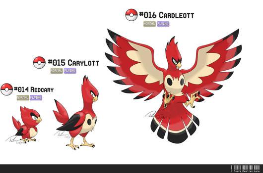 014, 015, 016: Cardinal Bird Fakemon