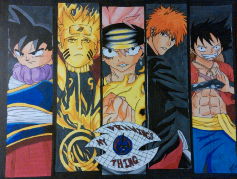Goku, Naruto, Natsu, Ichigo, and Luffy by David-Tiero on ...