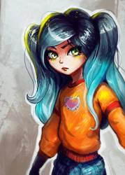 girl blue hair by Eldensa