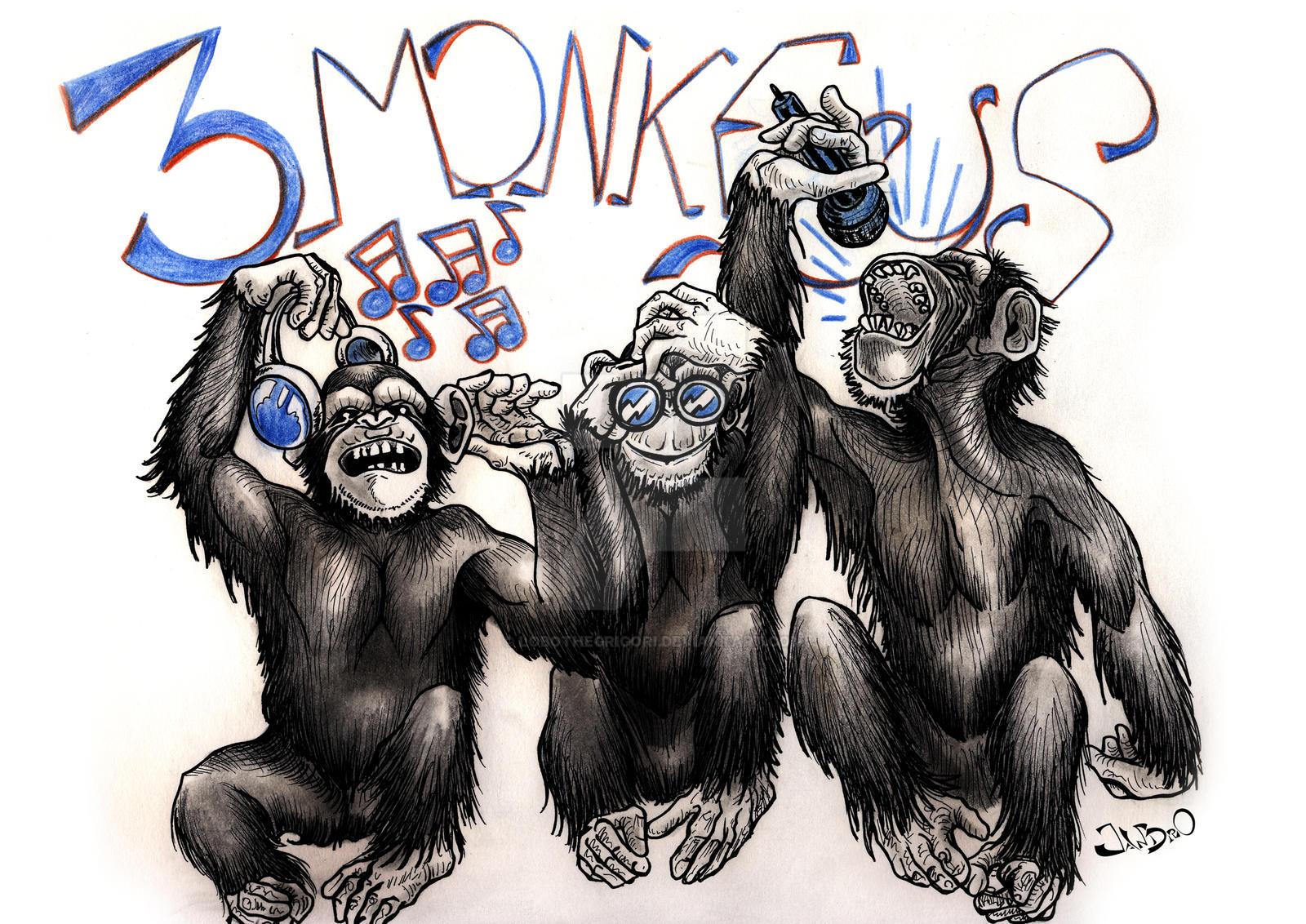 Three Wise Monkeys Drawings Three Wise Monkeys by
