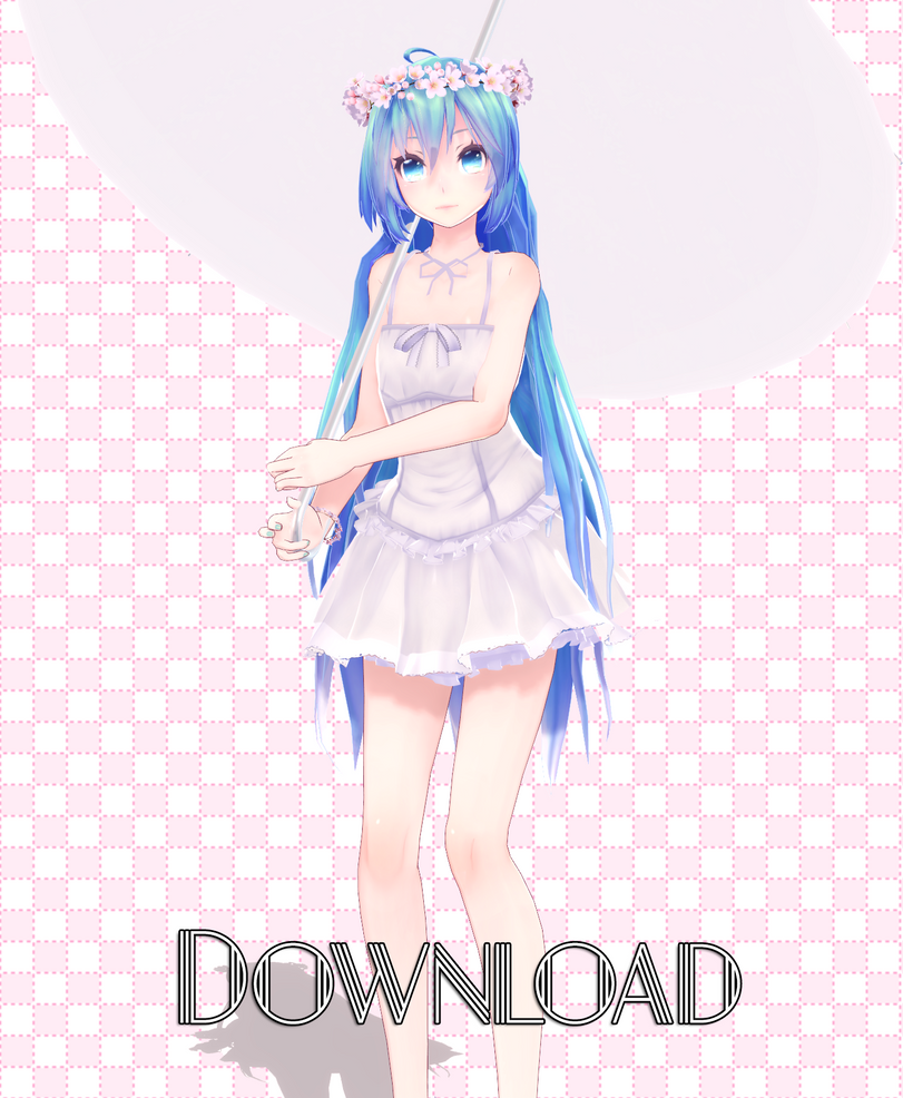 TDA HatsuneMiku Sakura White dress Move by MMDVocaloidThailand