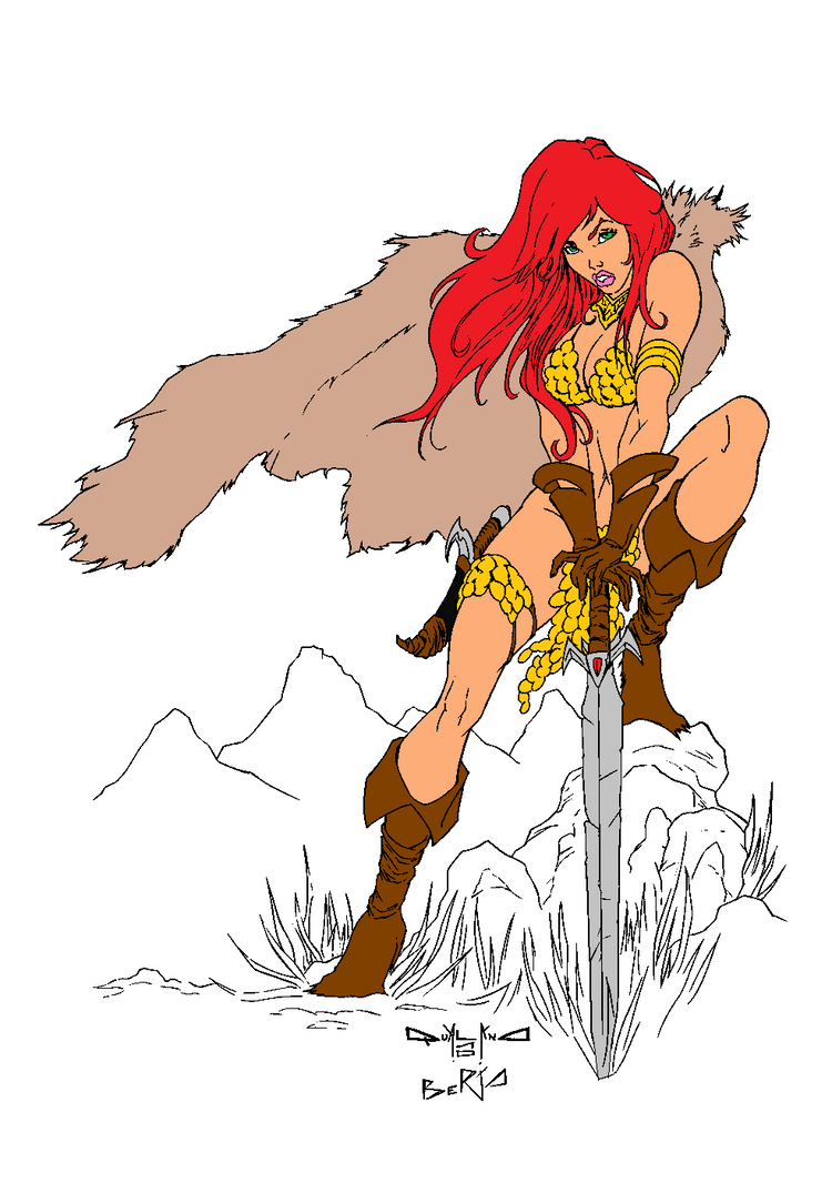 Red Sonja  Lineart  By Diabolumberto-d2xsh6p by leoelectronix
