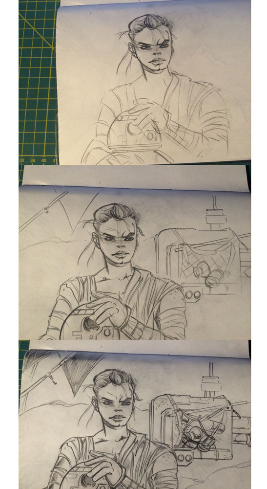 Rey and BB8 Star Wars Process by mcd91