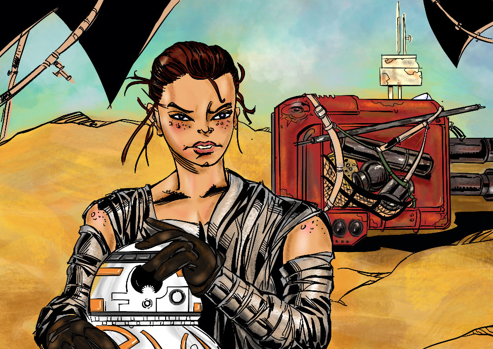 Star Wars Rey and BB8 by mcd91