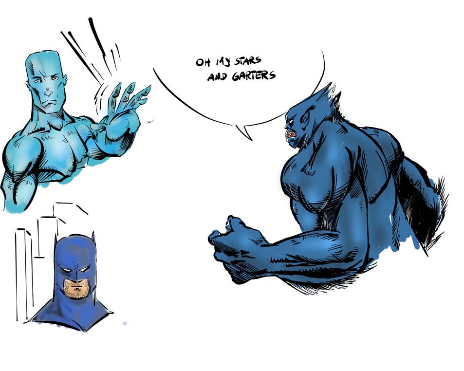 Bat- and Iceman, plus Beast by mcd91