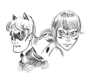 Lady Bug and Cat Noir by mcd91