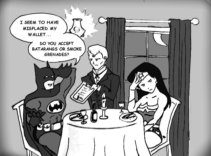 Dinner Date: Batman and Wonder Woman by Falling-Card
