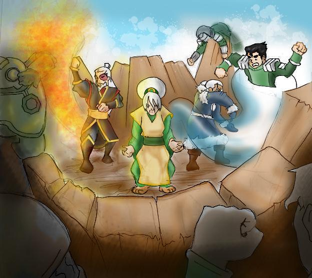 Team Avatar vs Kuvira's Army by Falling-Card