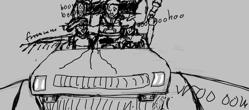 Overwatch girls driving high above the sky WIP by ComicsMaker9000