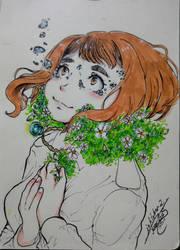 My Little Gardenia [Inktober] by narcyzus