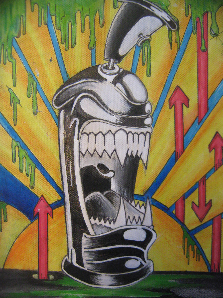 spray can monster painting by buzzypsychedelicness on. Black Bedroom Furniture Sets. Home Design Ideas
