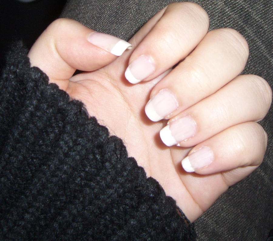 Natural Short French Nails.-Left Hand by danis-chan on DeviantArt