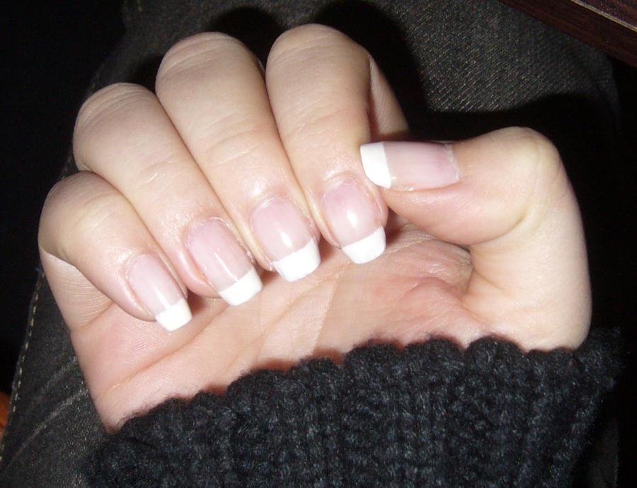 Natural Short French Nails.-Right hand by danis-chan on DeviantArt