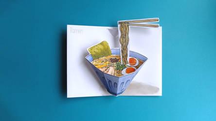 ramen hand made pop up card by JillianEdward