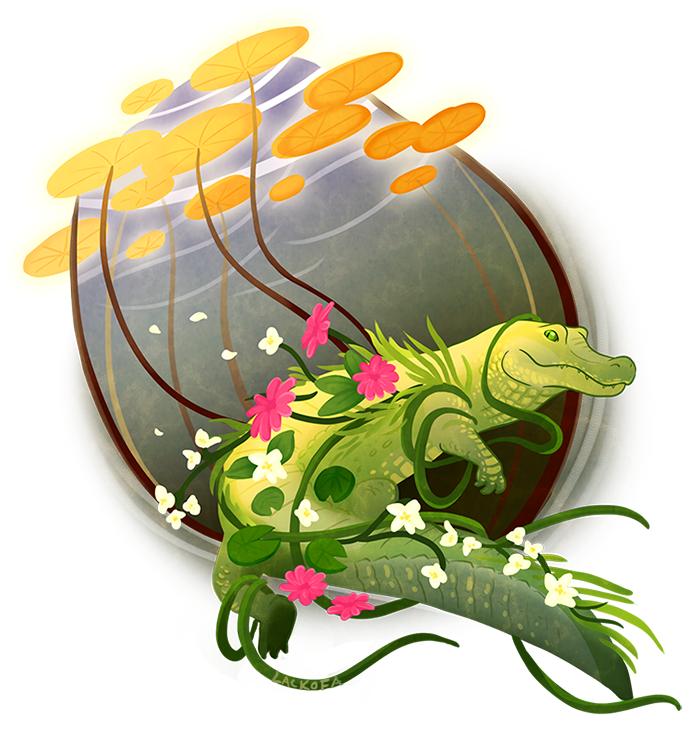 Commission: Flowergator by lackofa
