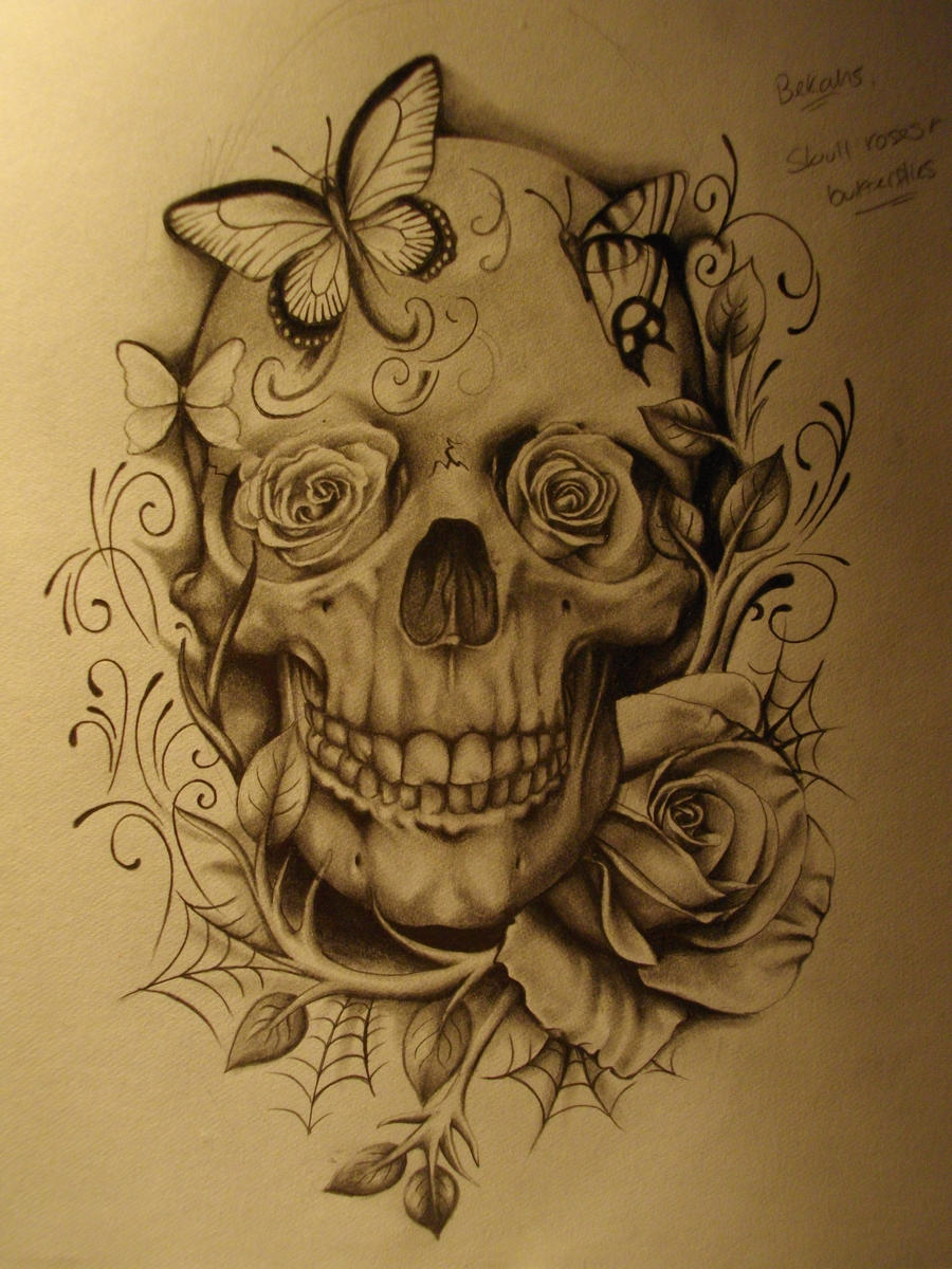 Skull and roses 1 by sammydodger1 on deviantart for Skull love tattoos