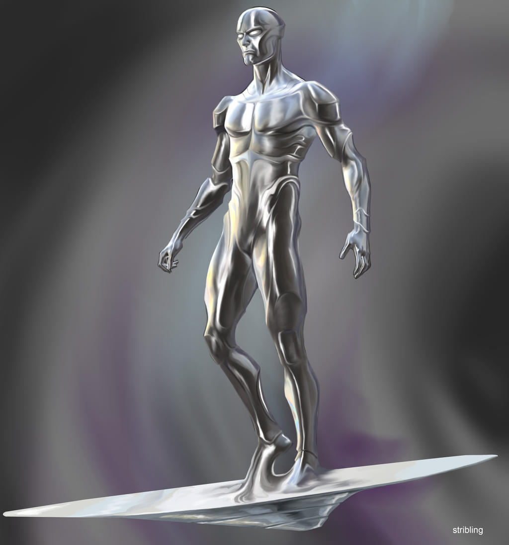 completely based on the silver surfer riding his silver surfboard to