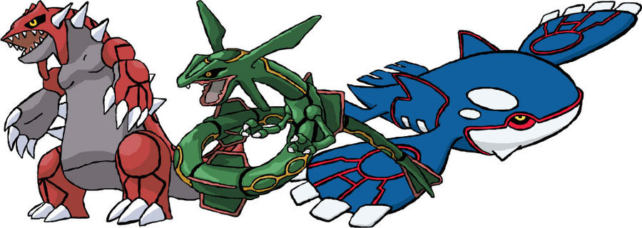 Groudon, Rayquaza And Kyogre by azza17 on DeviantArt