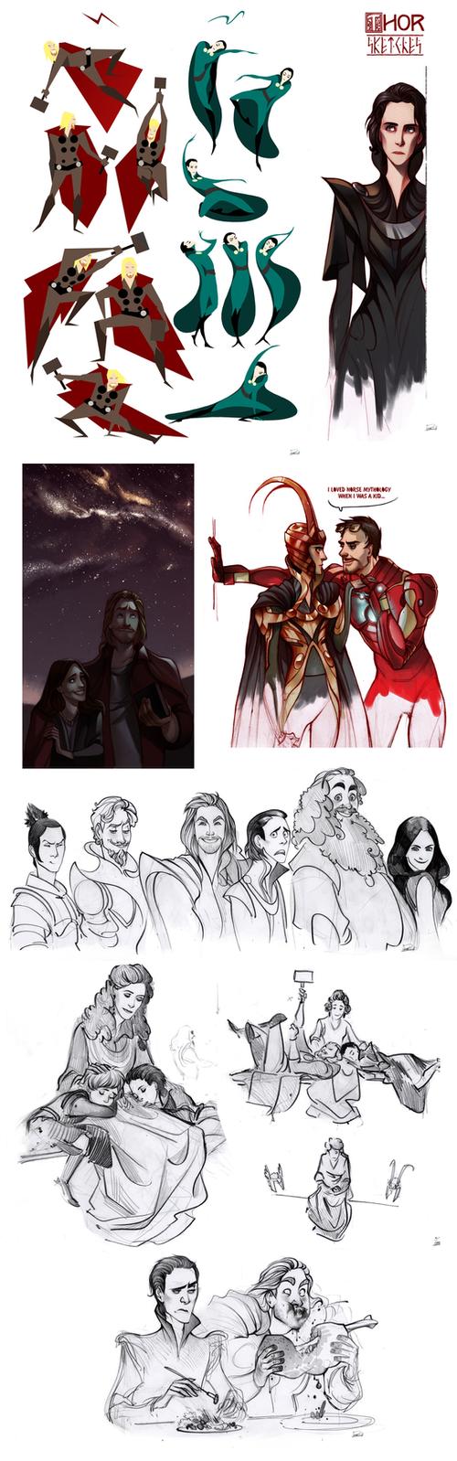Thor sketchdump by Phobs