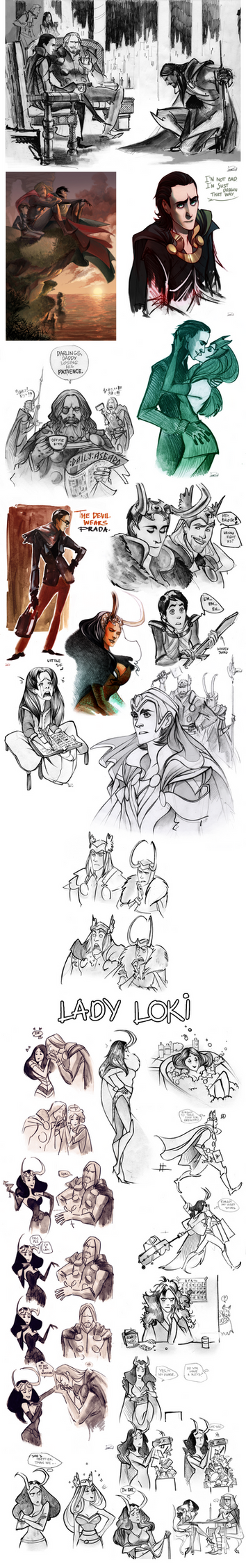 Thor sketchdump II by Phobs