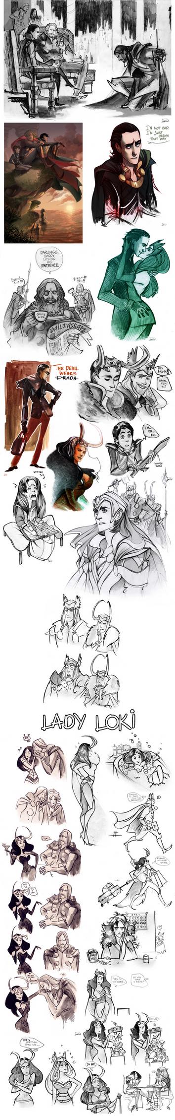 Thor sketchdump II by Phobs