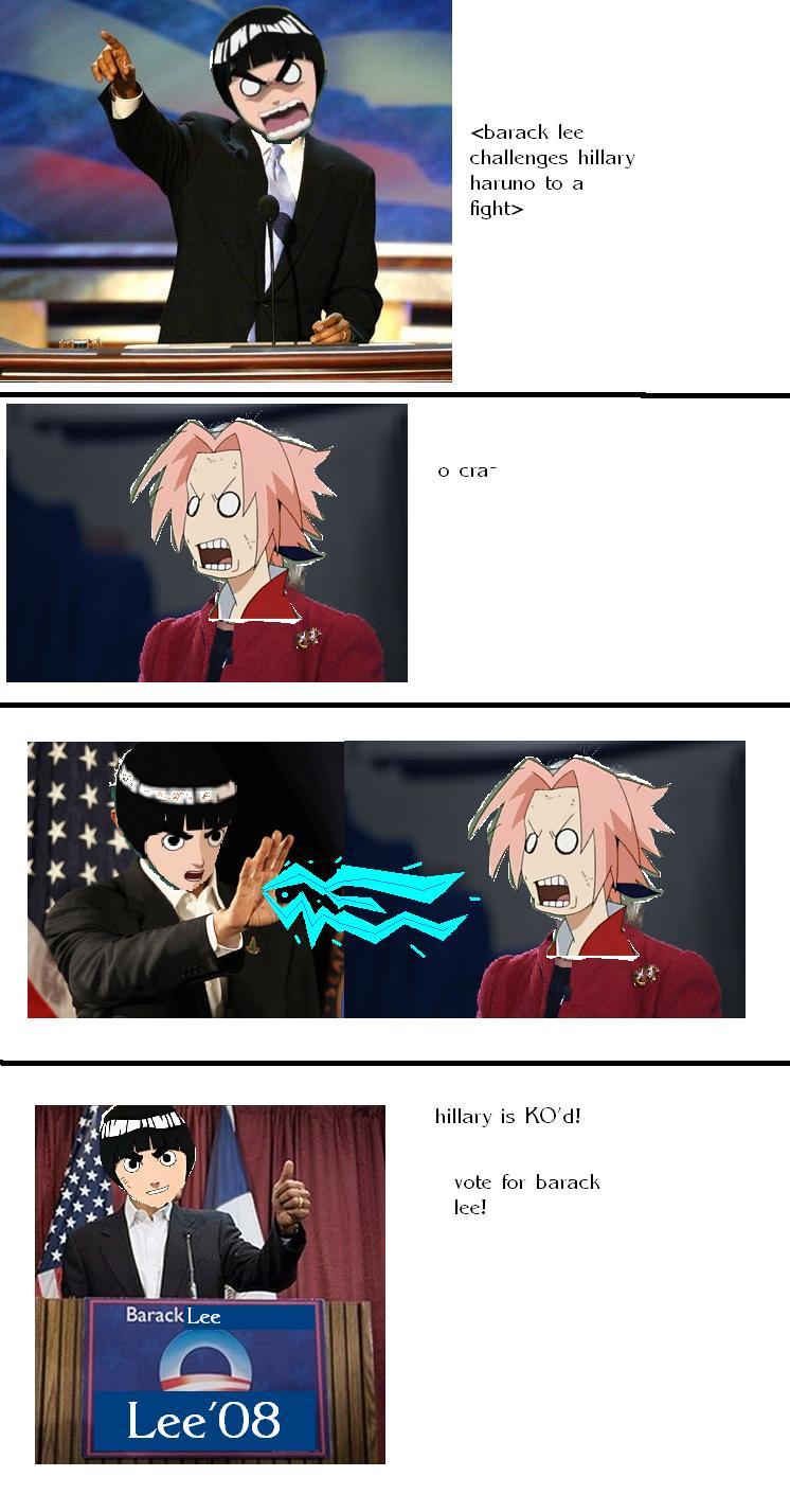 Barack lee vs Hillary Haruno by HotDogAndKetchup