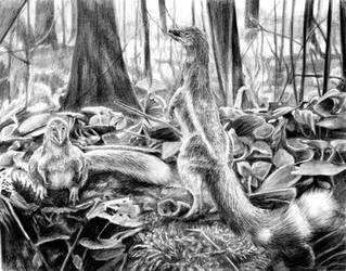 Dawn of jurassic jackal black white (Panguraptor) by reminegrest