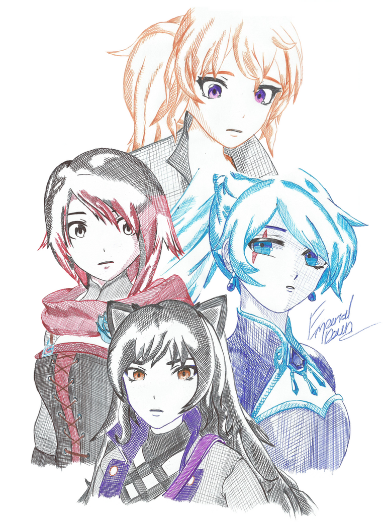 Team Rwby Cross-Hatch Collection *Print* by Emperial-Dawn