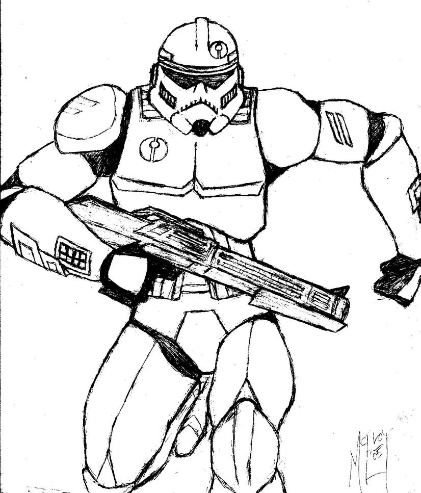 Clone trooper assassin sketch by ugccomics on deviantart for Clone trooper coloring pages