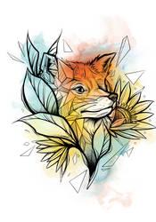 Watercolor Fox *tattoo commission*