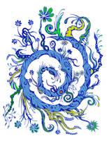 Blue flowers 6 - colored by Dessins-Fantastiques