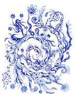 Blue flowers 6 by Dessins-Fantastiques