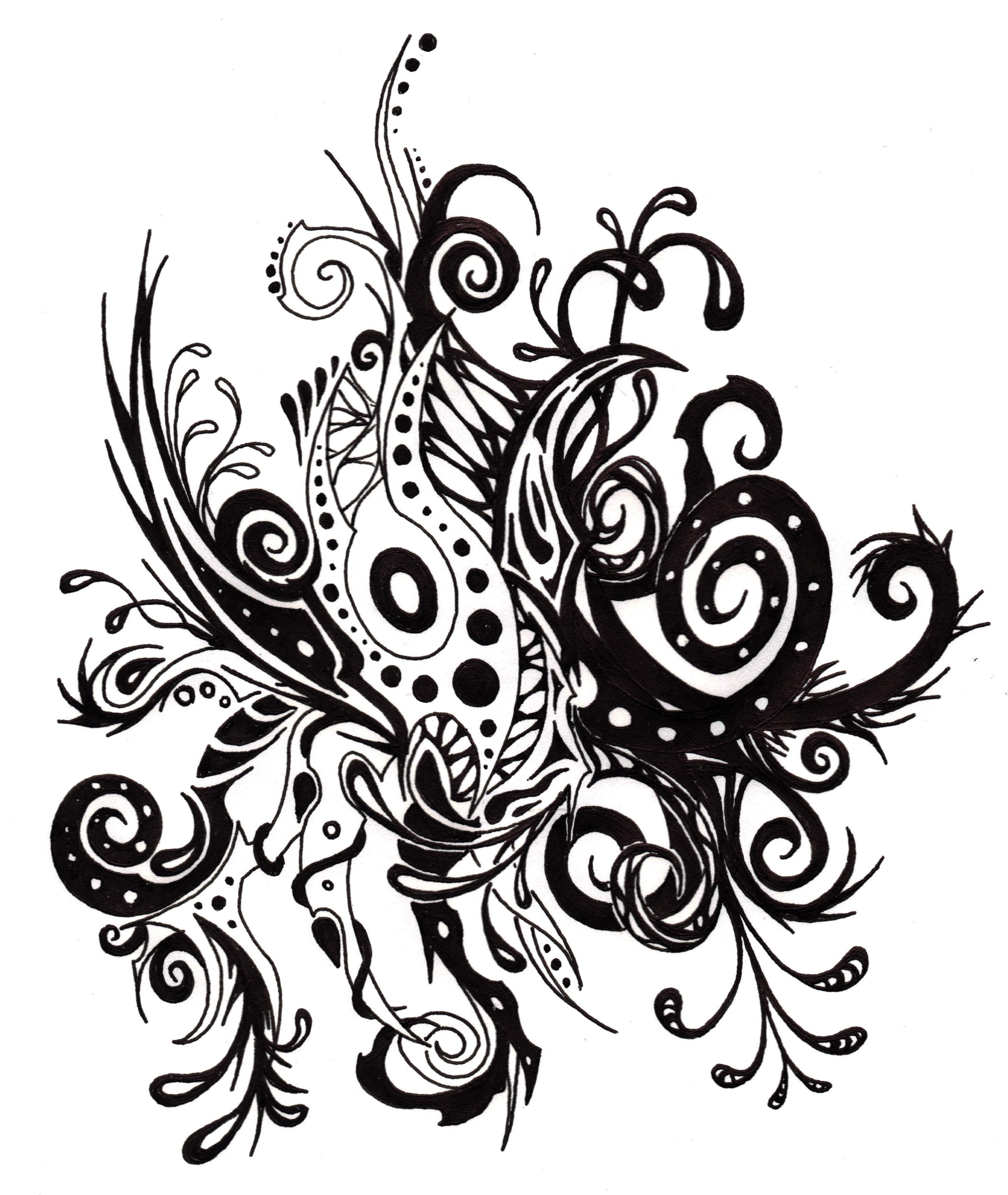 Plantes 4 dessins fantastiques - Dessin de fleur en noir et blanc ...