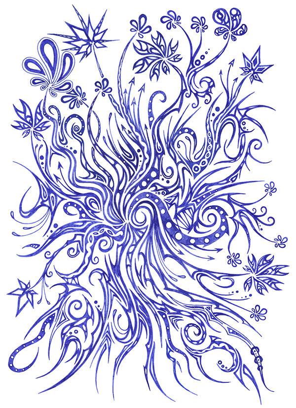 Blue Flowers 20 by Dessins-Fantastiques
