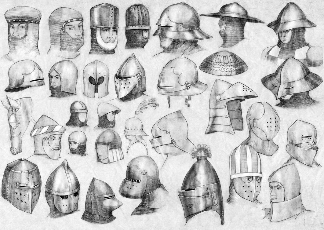 How to draw medieval helmet