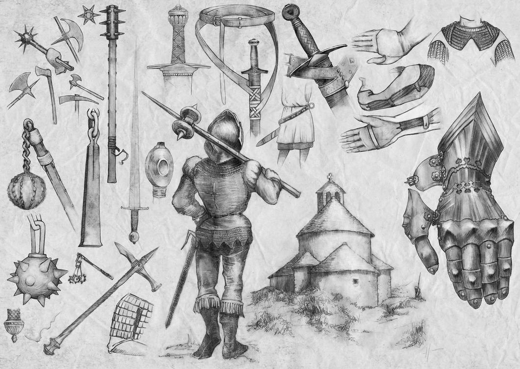 Medieval flail, sword arm, other weapons (5) by ...