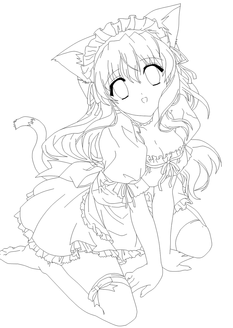 anime neko coloring pages | Moe Neko -Lines- by Amu---Chii on DeviantArt