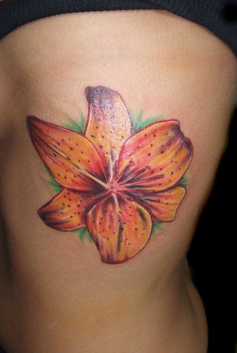 Tiger lily on ribs by bryanlangley on deviantart for Tiger lilly tattoos