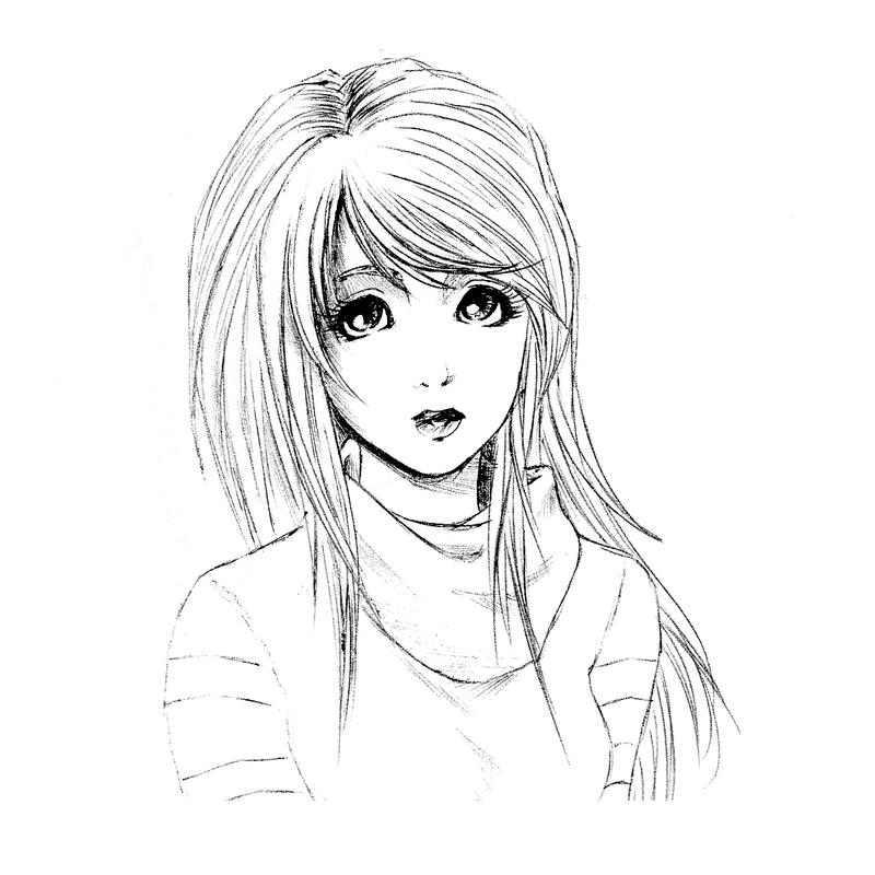 Cute manga girl lines by martixxx on deviantart for How to draw a girl looking down