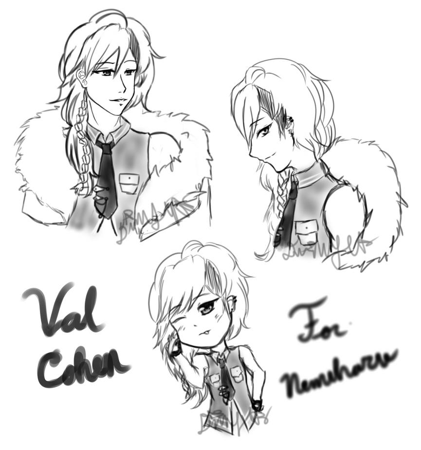 [AT 1/2] Val Sketchpage for Nemuharu by DarkMoonlitStar