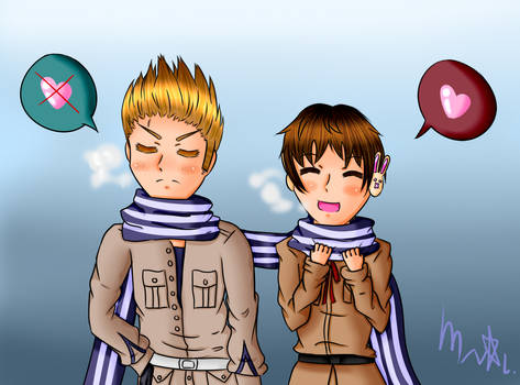 Request: SpaHol - Sharing a scarf