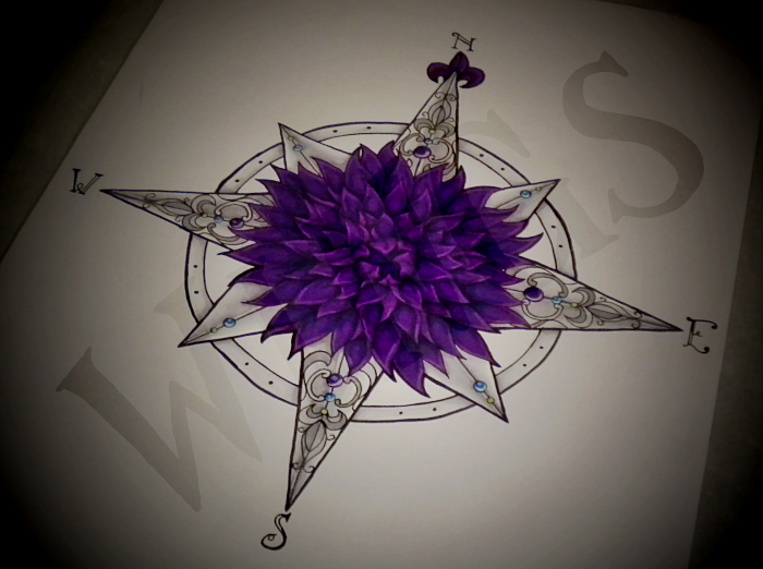 Colored lace tattoo designs - True North Compass Tattoo Dahlia Compass By Wingsdurus