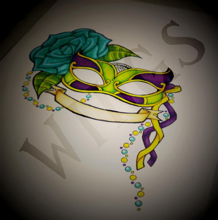 Mardi gras friendship mask by wingsdurus on deviantart for Mardi gras mask tattoo