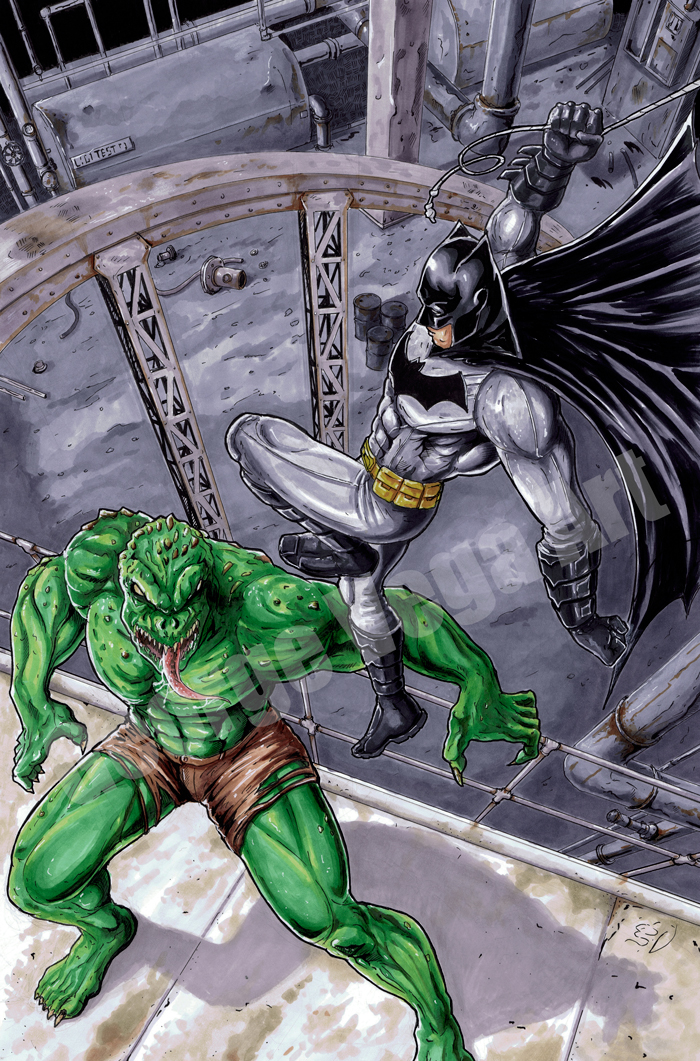 Batman-VS-Killer Croc by shaotemp