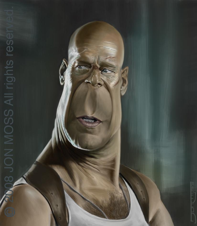 Bruce Willis Caricature by jonmoss77