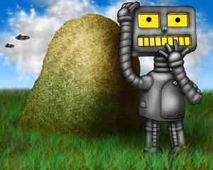 PopFuzz The Robot Wonders How This Rock Got Here