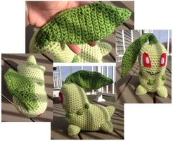 Chikorita crochet by Leafquill